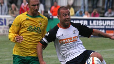 Keith Keane, right, during his Luton Town days.