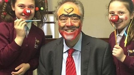 Uttlesford's MEP Richard Howitt joined in the Red Nose Day fun this morning as he had his face paint