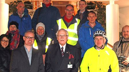 Supporters of Access Walden gather with Councillor Alistair Walters outside the Uttlesford District
