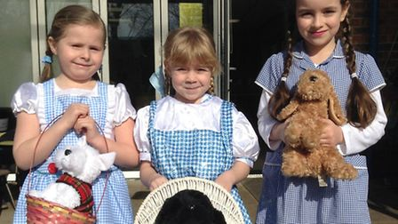 Woolenwick Infant & Nursery School World Book Day 2015. Dorothy from the Wizard of Oz in triplicate