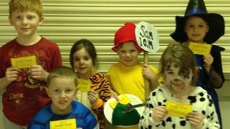 Woolenwick Infant & Nursery School World Book Day 2015. The lucky winners were, left to right, back