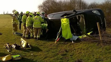 """Firefighters said the driver had a """"very lucky escape""""."""