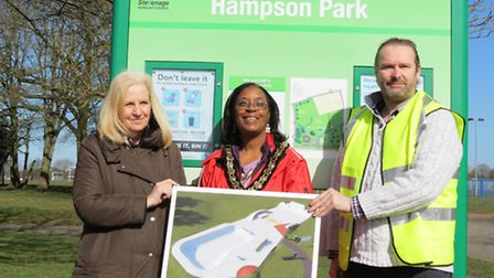 Council leader Sharon Taylor, Sherma Batson and Matthew Hewitt with the new skate park designs.