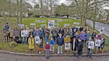 Representatives from towns and villages across the county meet in Cottered to protest plans for a wa