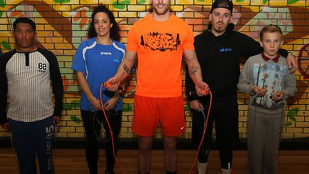 Jo Collier from Child UK, Skip Beatz instructor Peter Thompson and Child UK's Ashley Howard with tee