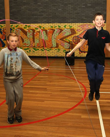 Charlie Winnett and Ryan Priestley, taking part in Bowes Lyon Centre sporting activities week