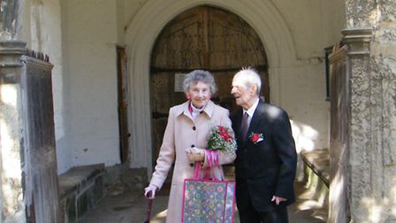 Robert and Pearl revisted the church on their 65th wedding anniversary.