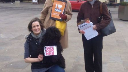 38 Degrees members taking to the streets of Letchworth to back the 'Save our NHS' campaign.
