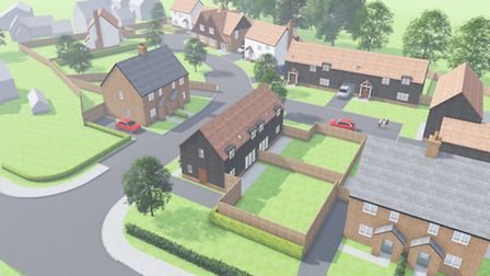 Designs by architects Vincent and Gorbing for 14 homes in Norton Green, Stevenage.