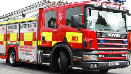 Fire crews tackled a large fire at a derelict Arlesey factory for more than five hours on Saturday.