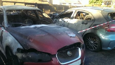 Two cars were destroyed following the blaze in a communal car park in Shrublands, Saffron Walden.
