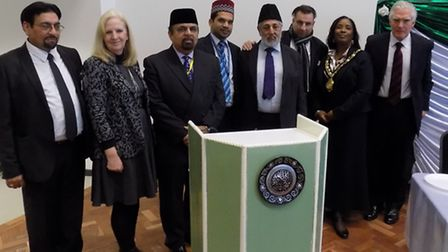 Delegates and guests at Muslim peace conference held at North Herts College, March 1, 2105