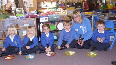 RA Butler Academy had a visit from Tesco community champion Susie Diggons as reception children cele