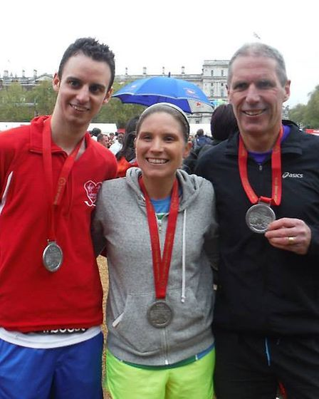 Comet news editor Nick Gill with Kerry and Brian White after the race.
