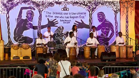 Master drummers Kakatsitsi on the St Mary's Stage at Rhythms of the World 2014.