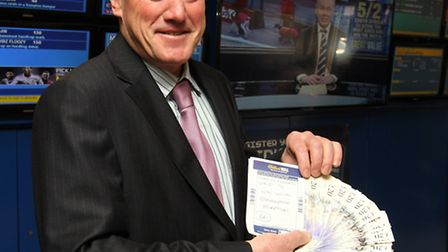 UKIP candidate David Collins with his money and betting slip