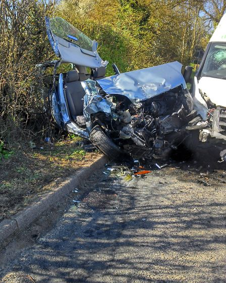 A driver had to be cut free from their car after a head-on collsion with a van on Pelham Road, Clave