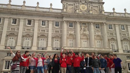 Knights Templar School students outside the Royal Palace of Madrid.