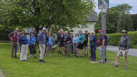 Carol Stokes (North Herts Ramblers) leads a group of walkers onto the Pegsdon Hills.