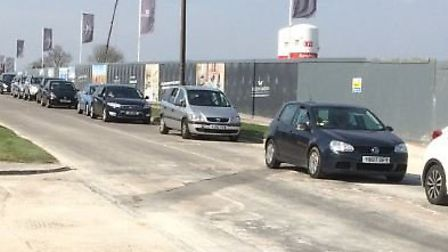 Drivers queueing up Blackhorse Road on Friday to get into the tip. Credit: Deborah Price.