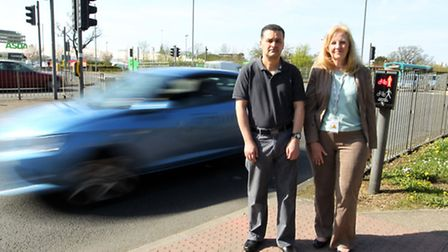 Toufik Moumen with Sharon Taylor, council leader at the pedestrian crossing on Monkswood Way