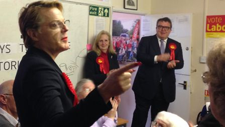 Eddie Izzard, Tom Watson and Sharon Taylor - Labour's prospective parliamentary candidate for Steven