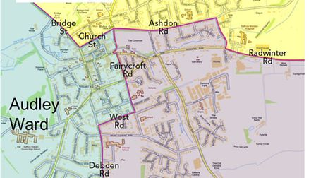 Saffron Walden ward map. Three out of four of the wards will be contested this May 7.