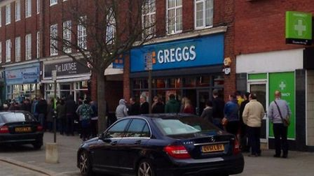 People queued into the night outside the bookshop