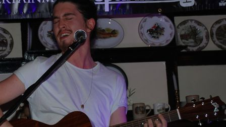 Alex Bay performing at the The Goat pub's Open Mic Night in Codicote