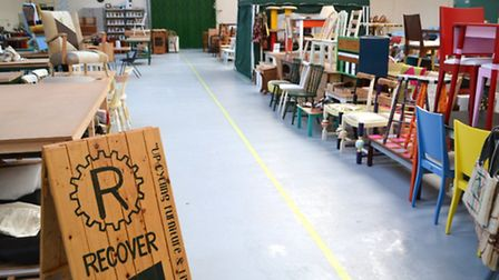 The workshop full of the volunteers' colourful furniture