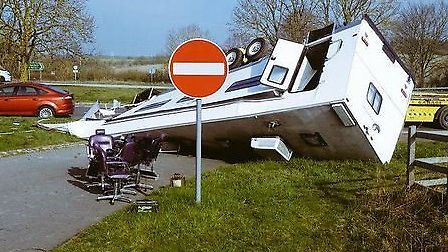 The caravan overturned on the A505