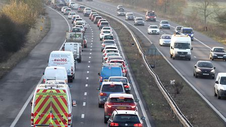 There have been two crashes on the A1(M) southbound near Junction 8 within 12 hours, both causing co