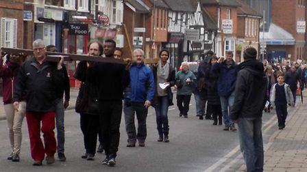 Hitchin Walk of Witness to St Mary's Church, Good Friday 2015
