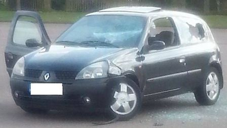 Most of the car's windows were smashed in the attack. Credit: Spotted in Stevenage