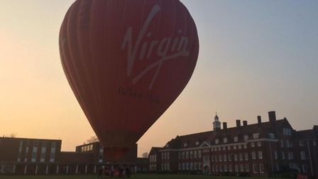 A hot air balloon landed in the grounds of Hitchin Girls' School last night. Picture: @hankin via Tw
