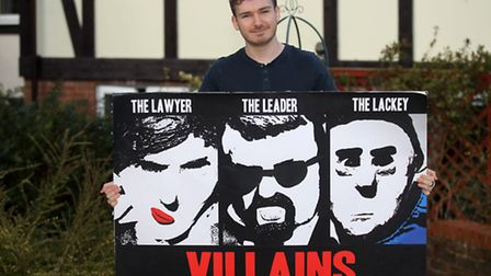 Alex Crowley with his movie poster