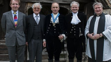 High Sheriff handover: left to right: Sir Jeremy Stuart-Smith (High Court Judge); James Williams (Un