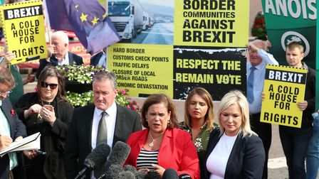 Sinn Fein president Mary Lou McDonald speaking to the media with Sinn Fein Foyle MP Elisha McCallion