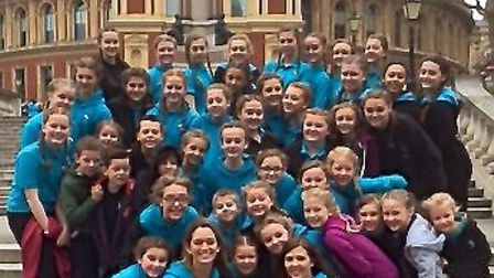 The Stephanie Prior School of Dance troupe on the steps of the Royal Albert Hall.
