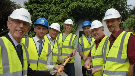 Marking the start of the Bridge End Gardens work are, from left, Anthony Skipper, chairman of the Fr