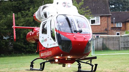 Herts Air Ambulance was called to attend a man who sustained head injuries after a fall in Letchwort