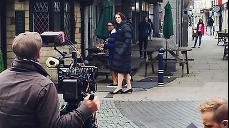Former Coronation Street star Suranne Jones is filmed outside the Rose and Crown for Dr Foster. Pict