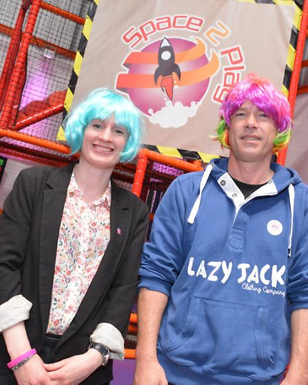 Catherine Cadman from CLIC Sargent and Space2Play owner Jason Flynn backing the cause.