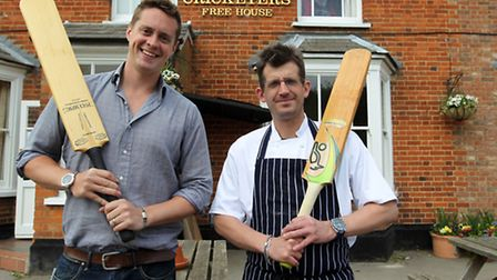 Howard Nye, director at The Cricketer's with Mark Nicholls, Head Chef, outside The Cricketer's