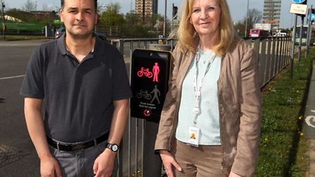 Toufik Moumen and council leader Sharon Taylor at the pedestrian crossing on Monkswood Way where Yes