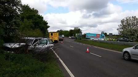 The crash on the A505 near Hitchin. Picture: @roadpoliceBCH via Twitter.