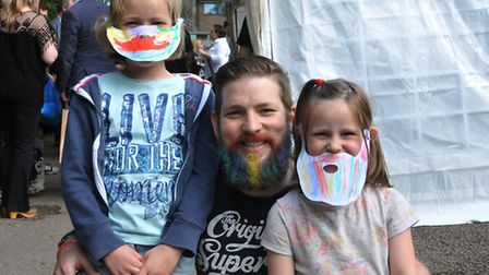 Amelie, 8, Andi and Isobel Woolass, 5 at Hitchin's first Beard competition