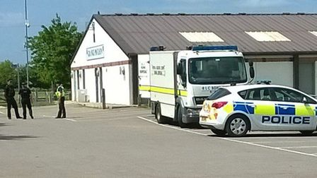 A police cordon was put up at The Grange Recreation Ground before a controlled explosion was carried