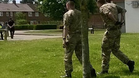 Two of the team after the controlled explosion was carried out.