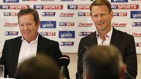 Stevenage F.C. chairman Phil Wallace and new manager Teddy Sheringham at the press conference
